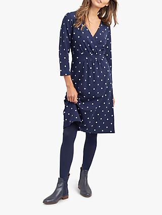 Joules Jude Jersey Wrap Dress, Navy Spot