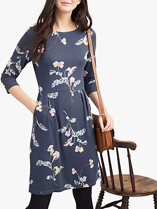 Joules Beth Ponte Floral Jersey Dress, Grey