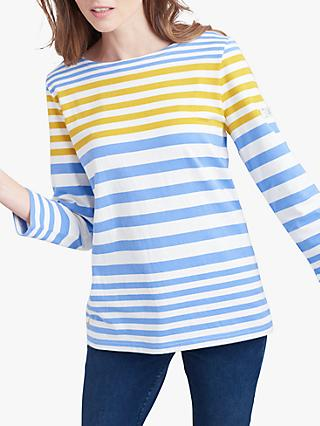 Joules Harbour Jersey Stripe Top, Blue/Gold