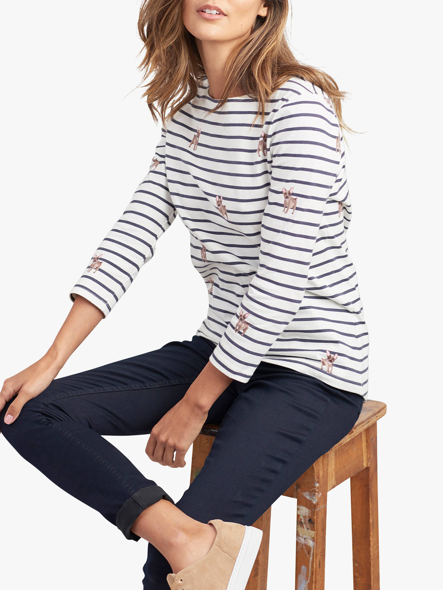 7e967a92a Joules Harbour French Bulldog Striped Jersey Top