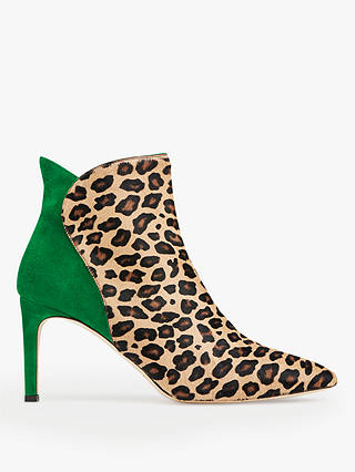 Buy L.K.Bennett Maja Stiletto Heel Ankle Boots, Green/Leopard Leather, 3 Online at johnlewis.com