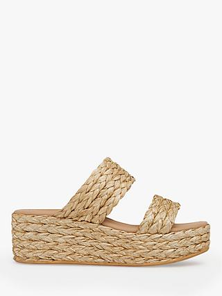 L.K.Bennett Willa Woven Flatform Sandals, Natural