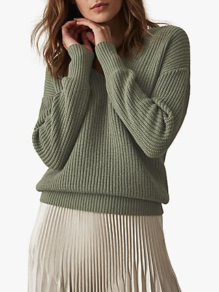 Reiss Audrey V-Neck Ribbed Jumper, Sage