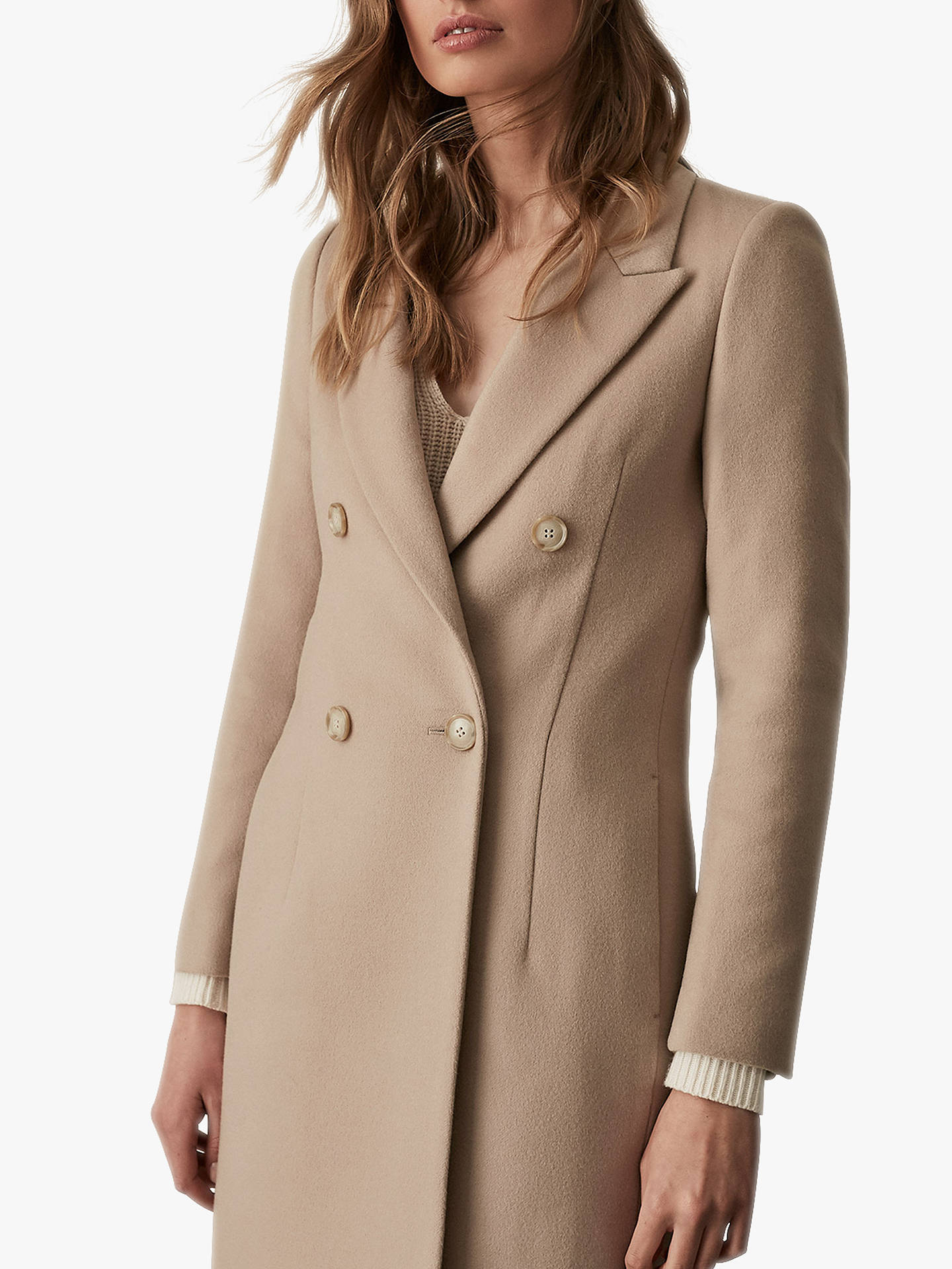 Buy Reiss Heston Longline Double Breasted Coat, Camel, 6 Online at johnlewis.com