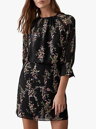 Reiss Roma Floral Printed Mini Dress, Black