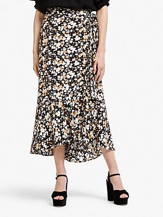 Somerset by Alice Temperley Dapple Apple Frill Wrap Skirt, Black/Neutral