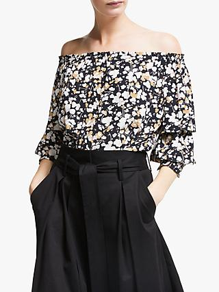 Somerset by Alice Temperley Dapple Apple Off Shoulder Top, Black/Multi