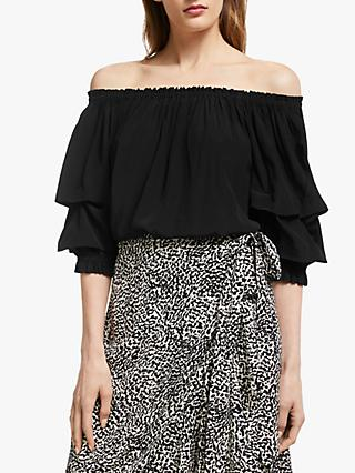 Somerset by Alice Temperley Tuck Sleeve Off Shoulder Top, Black
