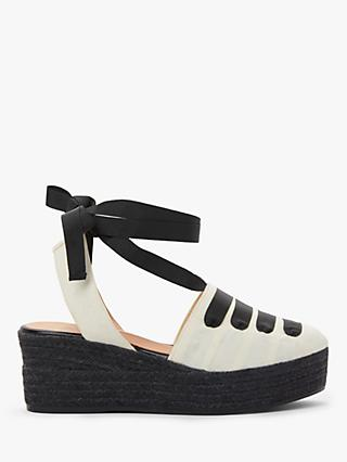 AND/OR Leighton Canvas Tie Espadrilles, Black/White
