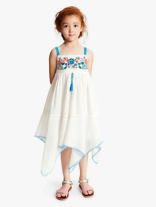 John Lewis & Partners Girls' Hanky Hem Dress, Cream