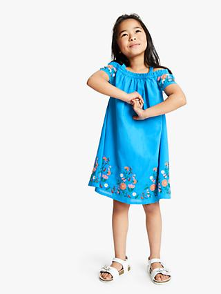 John Lewis & Partners Girls' Cold Shoulder Dress, Cobalt