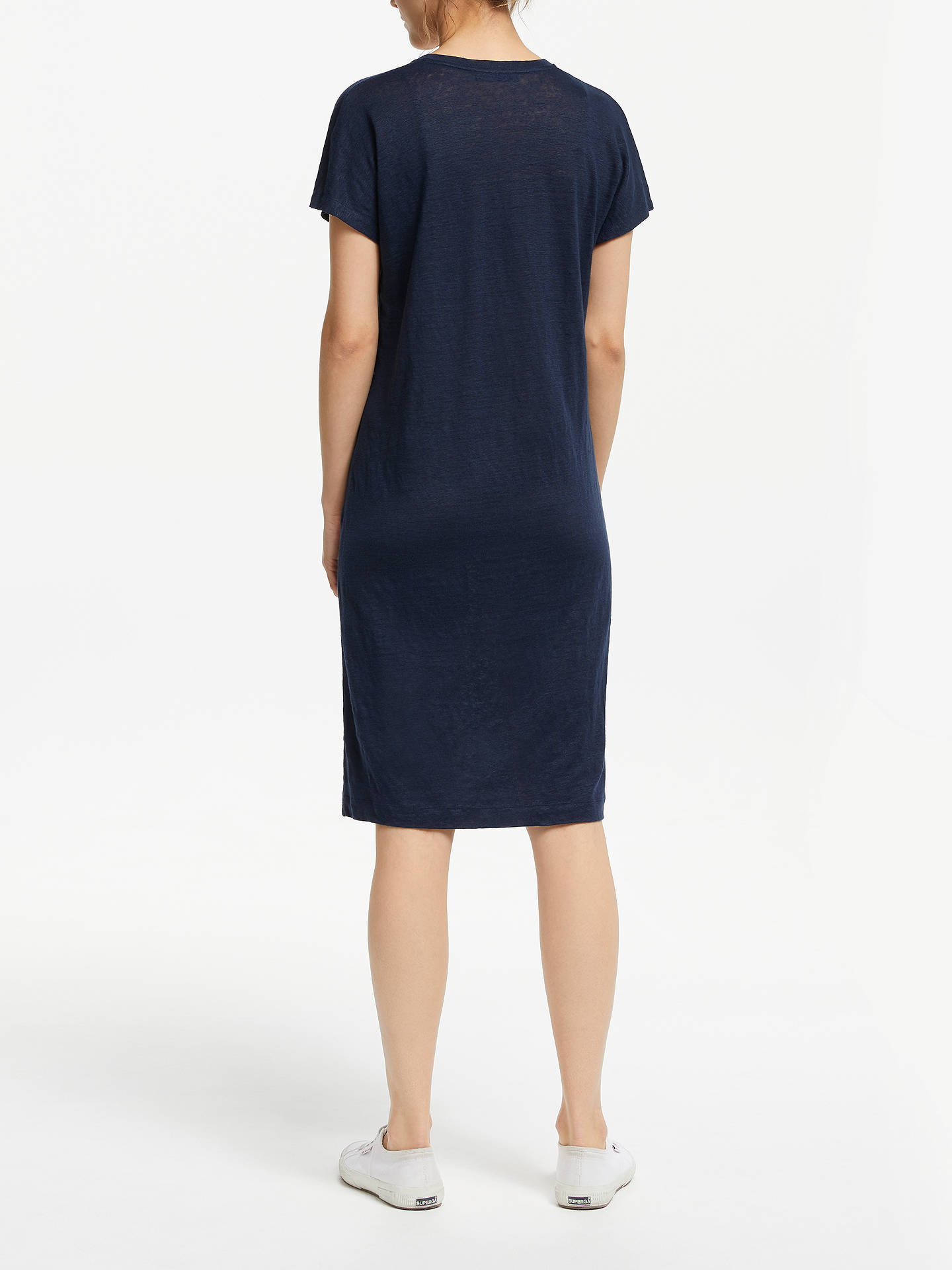 Buy Winser London V-Neck Linen T-Shirt Dress, Midnight Navy, XS Online at johnlewis.com