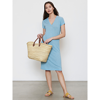 Winser London V-Neck Linen T-Shirt Dress