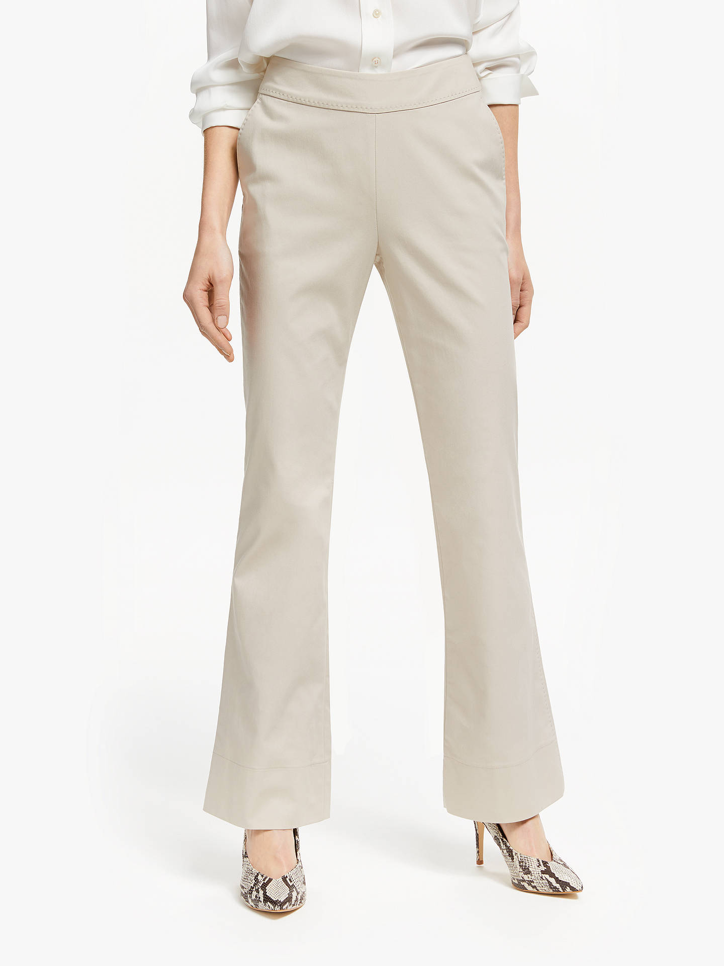 Buy Winser London Cotton Twill Flared Trousers, Stone, 10 Online at johnlewis.com