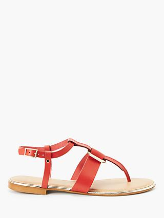 John Lewis & Partners Lyla Metal Detail Toe Post Sandals, Orange Leather