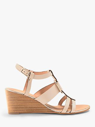 John Lewis & Partners Keya Wedge Heel Sandals, Nude Leather