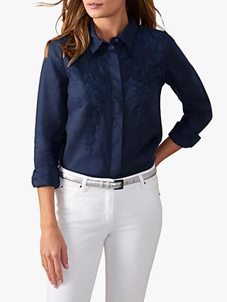 Pure Collection Embroidered Floral Print Linen Shirt