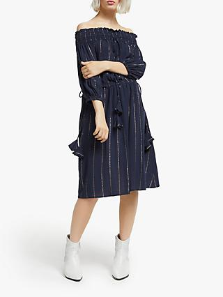 AND/OR Mariella Off Shoulder Stripe Dress, Navy