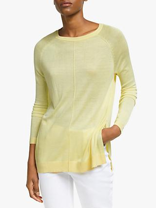 John Lewis & Partners Raglan Sleeve Crew Neck Sweater, Citron