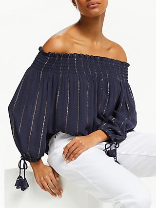 AND/OR Stephie Stripe Off Shoulder Top, Navy