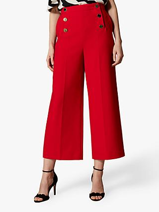 Karen Millen Button Waist Trousers, Red
