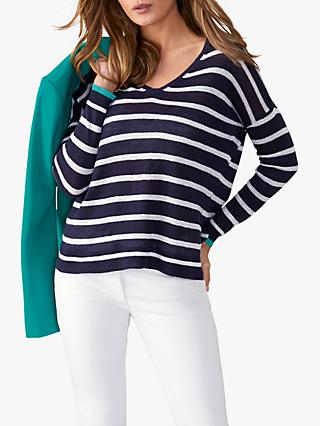 Pure Collection V-Neck Linen Striped Jumper, Navy/White