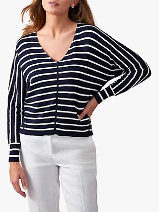 Pure Collection V-Neck Striped Jumper, Navy/Optic White