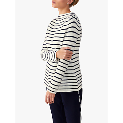 Pure Collection Textured Stripe Jumper, White/Navy