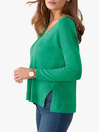 Pure Collection V-Neck Linen Jumper, Soft Green