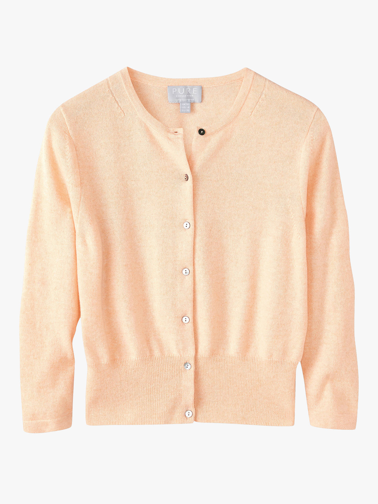 Buy Pure Collection Cashmere Cropped Cashmere Cardigan, Heather Peach, 8 Online at johnlewis.com