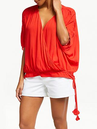 AND/OR Tassel Detail Wrap Top, Red