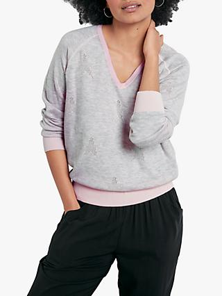 hush Reversible Star Pattern Jumper, Pink/Pale Grey