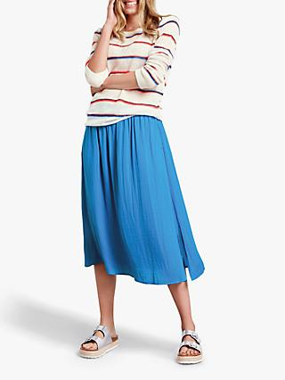 hush Shadow Stripe Boat Neck Jumper, Pristine/Multi