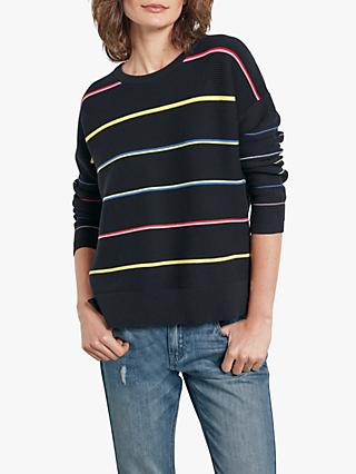 hush Rainbow Stripe Ottoman Jumper, Black/Multi