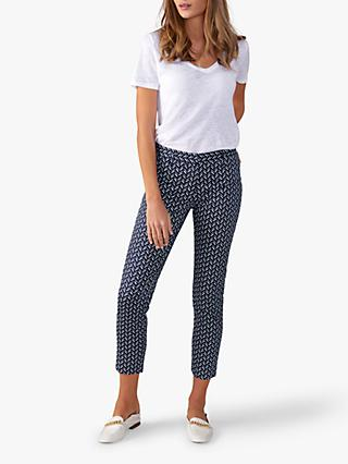 Pure Collection Capri Trousers, Navy Chevron