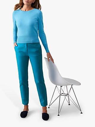 Pure Collection Ankle Trousers, Peacock Blue