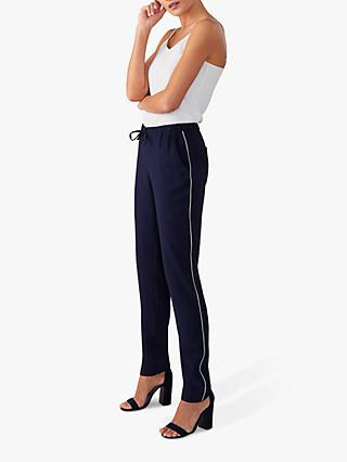 Pure Collection Piping Detail Trousers, Navy/Ivory