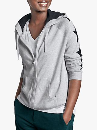 hush Star Zip Through Hoodie, Dress Blue/Grey Marl