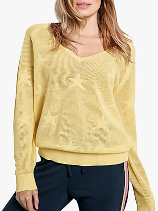 hush Fay V-Neck Star Jumper, Lemon Cream