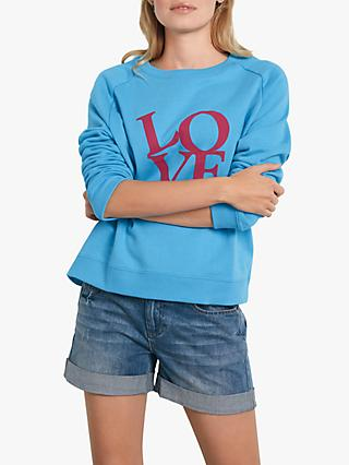 hush Love Stacked Slogan Sweatshirt, Blue/Pink