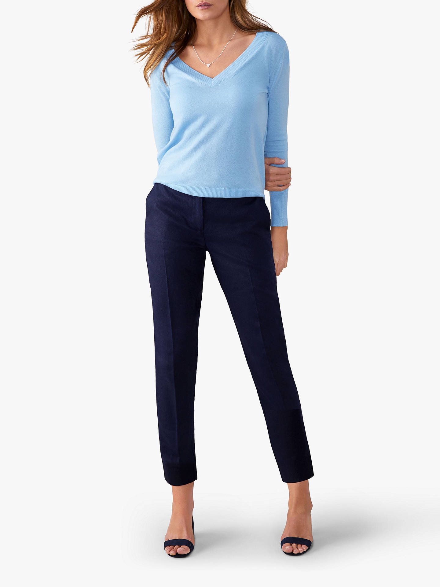 Pure Collection Linen Slim Leg Cropped Trousers, Navy by Pure Collection