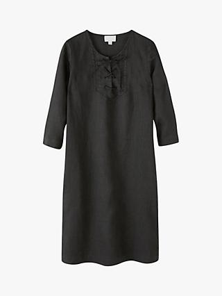 Pure Collection Linen Tie Neck Dress