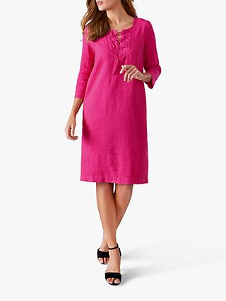 Pure Collection Linen Tie Neck Dress, Raspberry