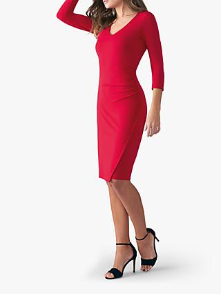 Pure Collection V-Neck Bodycon Jersey Dress, Scarlet