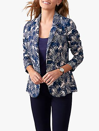 Pure Collection Linen Jacket, Navy Palm Print