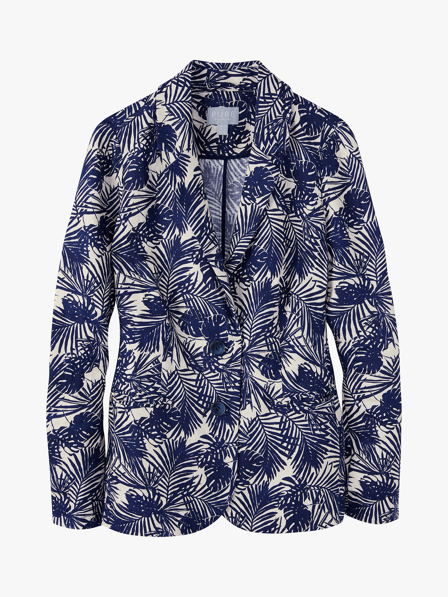 Buy Pure Collection Linen Jacket, Navy Palm Print, 8 Online at johnlewis.com