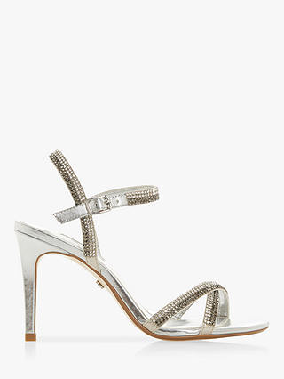Buy Dune Magdalenna Jewel Embellished Sandals, Silver, 7 Online at johnlewis.com