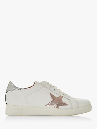 Dune Edris Lace Up Star Trainers, Pink Leather