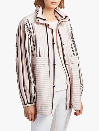 French Connection Cotton Oversized Stripe Bomber Jacket, Lavender Multi