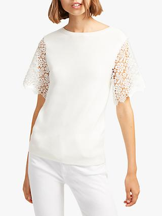 French Connection Marianne Short Sleeve Knitted Top, Summer White